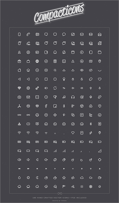 Compacticons - 180 PSD tiny icons - Freebiesbug